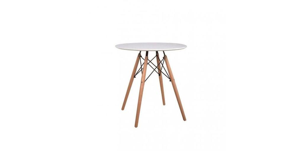 Kerek étkezőasztal, bükk lábakkal, 60 cm, fehér - FJORD